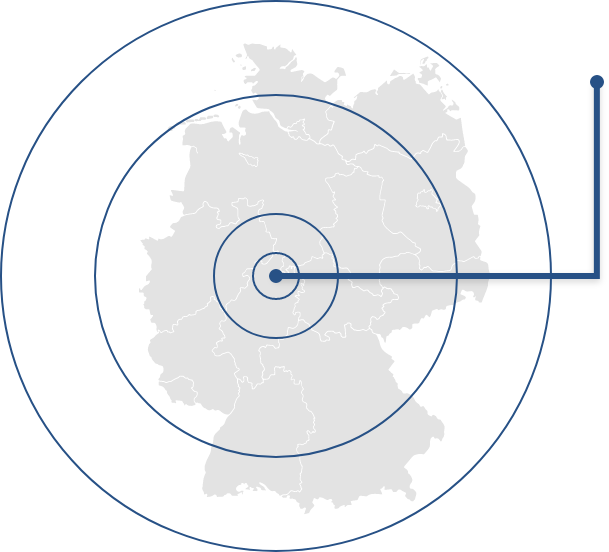 Deutschlandkarte mit Markierung bei Kassel, Hessen, Firmensitz TEAM MÜLLER Gruppe